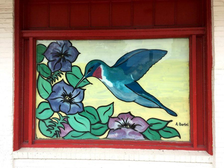 A hummingbird painted by Amy Bartel decorates the empty window of Follett's Miami Co-Op Bookstore. Photograph by Julia Arwine