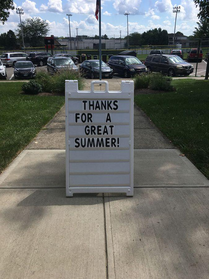 The sign in front of the pool bids swimmers farewell. Photos by Rachel Barry