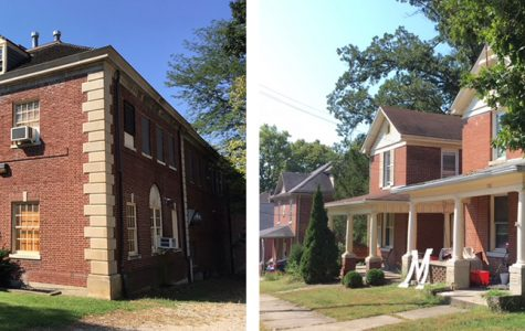 These buildings along South Elm Street would have been razed to make way for a new OPUS student housing development. <em>Photos by A.L. Blair</em>