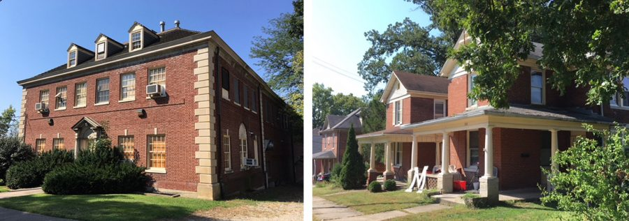 These buildings along South Elm Street would have been razed to make way for a new OPUS student housing development. Photos by A.L. Blair