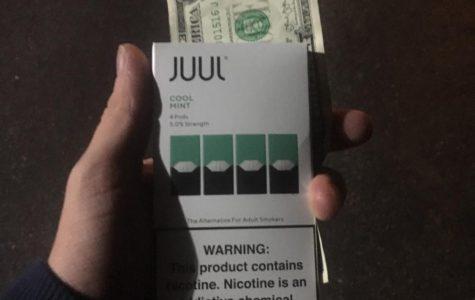 A package of four 'Cool Mint' Juul Vape Pods costs \$16. <em>Photos by Ryan McSheffrey</em>