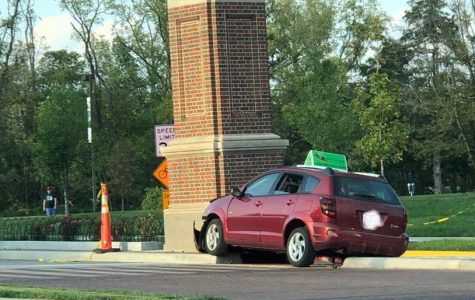 The wreck pictured here is the first incident of its kind involving the brick pillar. <em>Photo courtesy of the Miami University Police Department</em>