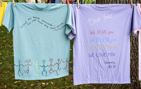 These shirts, photographed on campus last week, were included in the annual Clothesline Projectthatencourages awareness and discussion about sexual assault. Photos courtesy of Sophie Thompson