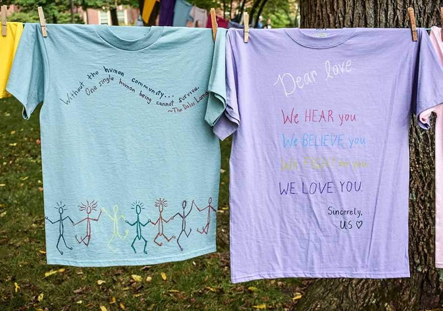These+shirts%2C+photographed+on+campus+last+week%2C+were+included+in+the+annual+Clothesline+Project%26nbsp%3Bthat%26nbsp%3Bencourages+awareness+and+discussion+about+sexual+assault.+Photos+courtesy+of+Sophie+Thompson