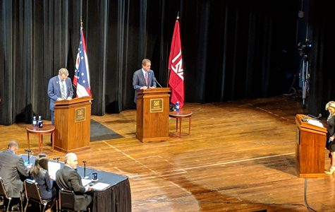 Democratic Sen. Sherrod Brown and and his Republican challenger Rep. Jim Renacci held their final debate Friday night in Miami's Hall Auditorium. <em>Photo by Ryan Gardenswartz</em><br>