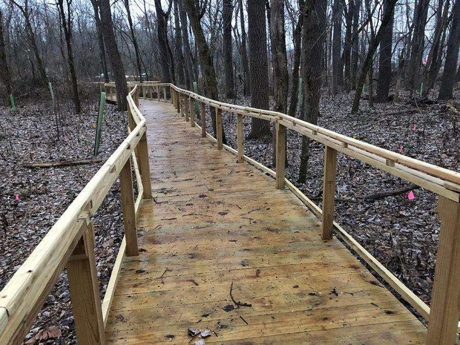 Students worked on a boardwalk through Ruder Preserve that is accessible to people in wheelchairs. Photo by Rachel Berry