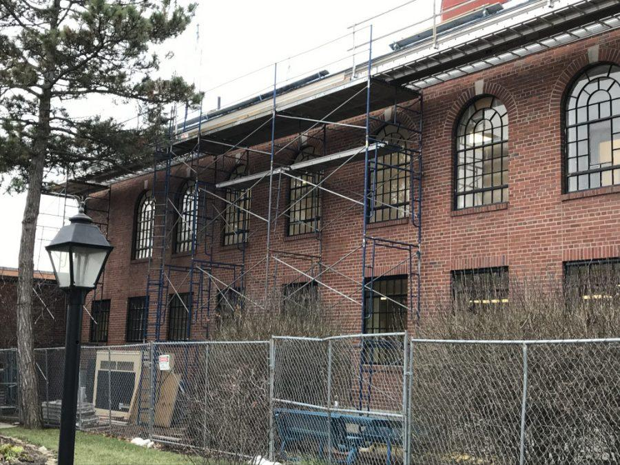 The city hopes to have the reconstruction of the old municipal building into the new police station by May or June. Photo by Patrick Keck