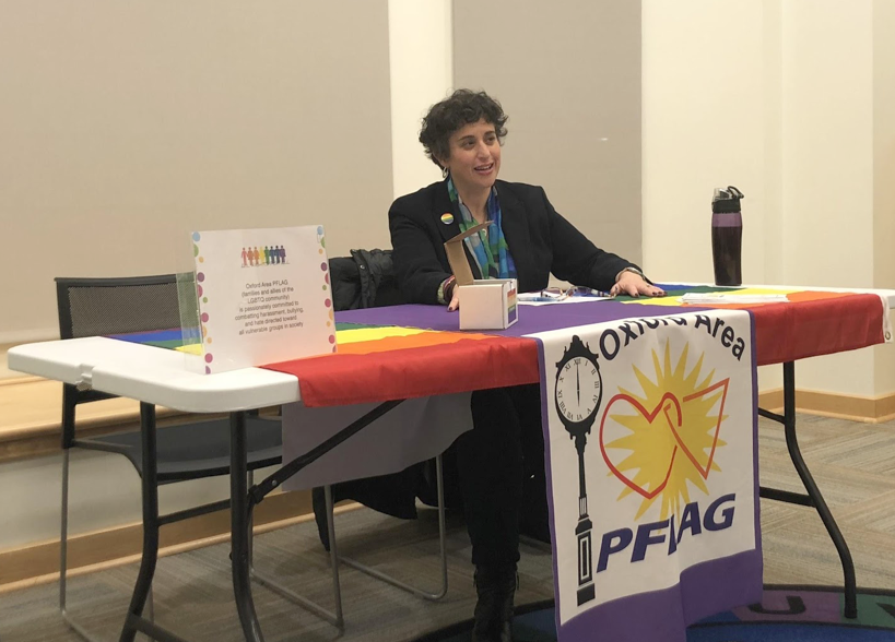 Amy Shaiman discusses her background in Judaism and the LGBTQ+ community at the Oxford Area PFLAG Community Meeting on Monday, Feb. 11. Photo by Leanne Stahulak
