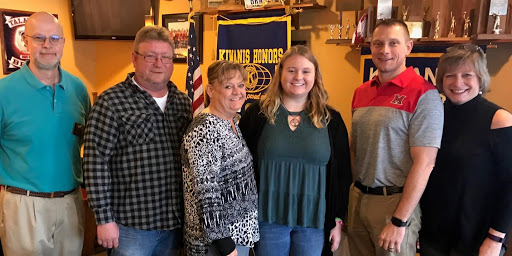 Amanda Abbott, third from right, received the Kiwanis Scholarship and Citizenship award. Pictured with her from left to right: Dave Jennings, Kiwanis representative; Jamie Abbott, Amanda's father; Jennifer Abbott, Amanda's mother; Scott Davie, Talawanda High School counselor; and Kelly Umbstead, Kiwanis president.<em> Photo courtesy of the Oxford Kiwanis Club</em>