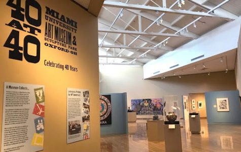 "Sherri Krazl describes this as ""the money shot"" of the ""40 at 40"" exhibit at the Miami University Art Museum. <em>Photo by Caroline Roethlisberger</em>"