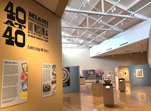 """Sherri Krazl describes this as """"the money shot"""" of the """"40 at 40"""" exhibit at the Miami University Art Museum. Photo by Caroline Roethlisberger"""