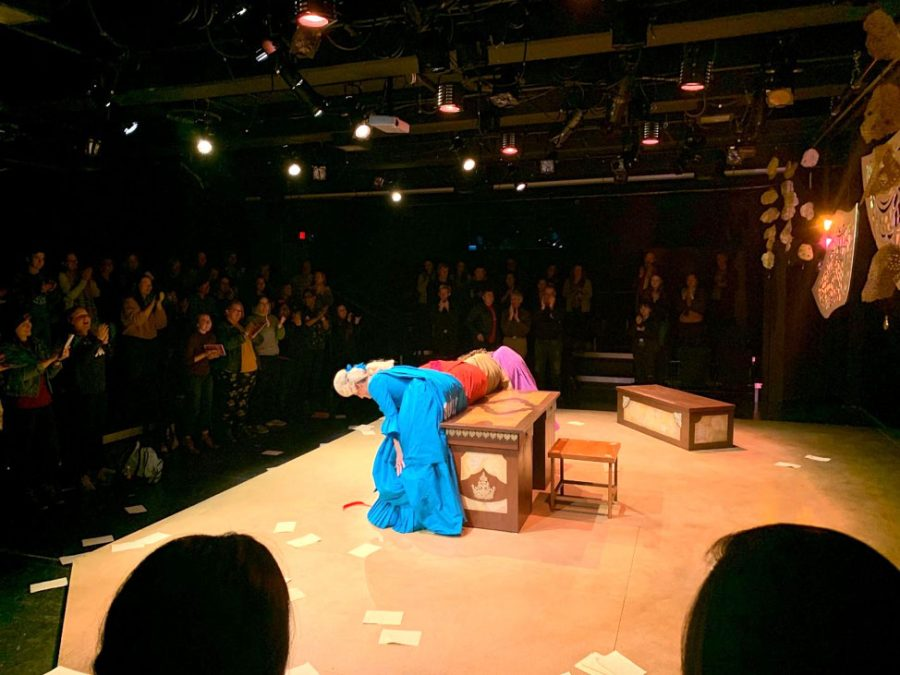 The+cast+of+%E2%80%9CThe+Revolutionists%E2%80%9D+bowed+at+the+close+of+the+show+and+received+a+standing+ovation+from+the+audience.+Photo+by+Josiah+Collins