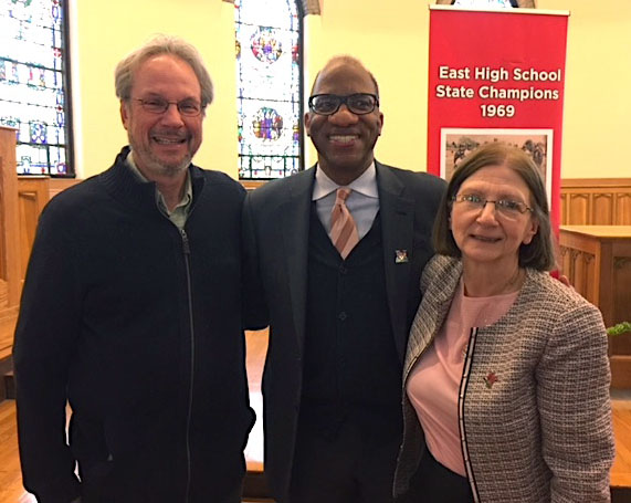 Journalist/author and Miami alum Wil Haygood, center, won great support from Harrison winner Richard Campbell and Provost Phyllis Callahan over the years.  Photo by Patti Newberry