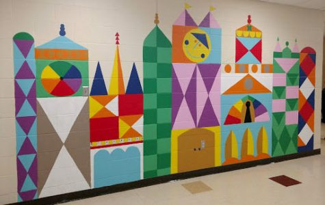 The mural painted by the Bogan Elementary Art Club is 15 by 7.5 feet long. <em>Photo courtesy of Amber Krimmer</em>