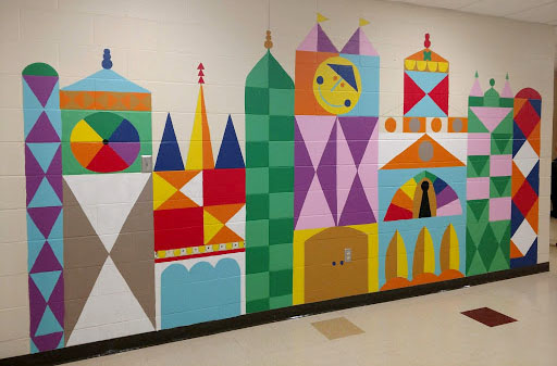 The mural painted by the Bogan Elementary Art Club is 15 by 7.5 feet long. Photo courtesy of Amber Krimmer