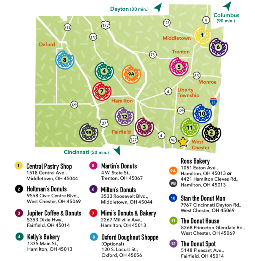A map showing a dozen shops on the Butler County Donut Trail, which includes a stop in Oxford. Map courtesy of the Butler County Visitors' Bureau