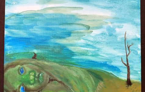 Mother Nature seems to be weeping in this painting from Cindy Kettlewell's eighth-grade class that sought to describe climate change through art. <em>Photo provided by Cindy Kettlewell</em>.