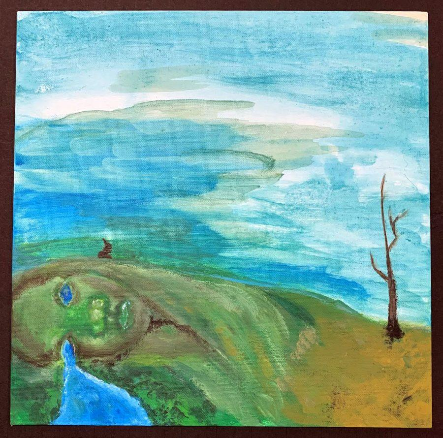 Mother Nature seems to be weeping in this painting from Cindy Kettlewell's eighth-grade class that sought to describe climate change through art. Photo provided by Cindy Kettlewell.