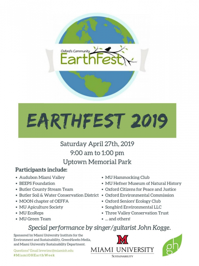 A poster inviting the community to the Oxford/Miami Community EarthFest Saturday in Uptown Memorial Park. Illustration courtesy of EarthFest.