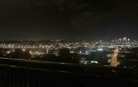 The nighttime view of downtown Cincinnati from the Incline Public House offers a spectacular light show. <em>Photo by Peyton Gigante.</em>