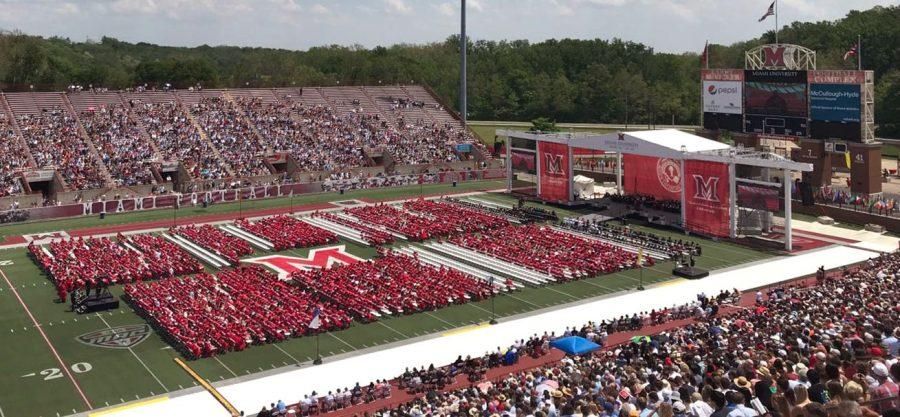 Almost+4%2C500+graduates+gathered+on+the+field+at+Yager+Stadium+as+friends+and+families+sat+in+the+stands+last+Saturday+at+Miami%E2%80%99s+180th+commencement.+Photo+by+Chris+Vinel.%3Cbr%3E