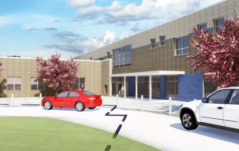 An artist's rendering of the front view of the new building. <em>Image provided by Talawanda School District</em><br>
