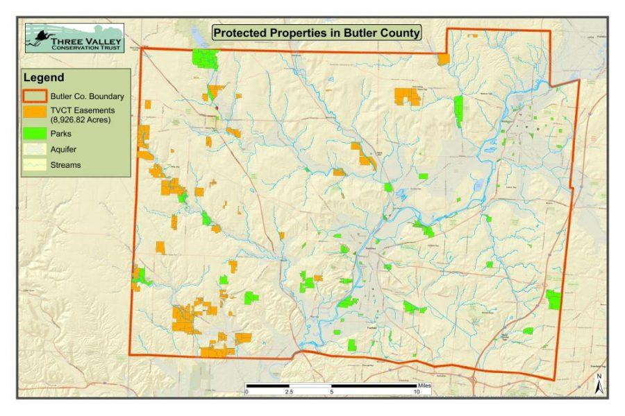 Three+Valley+conservation+easements+in+Butler+County+appear+in+orange+on+this+map.+Map+courtesy+of+the+Three+Valley+Conservation+Trust