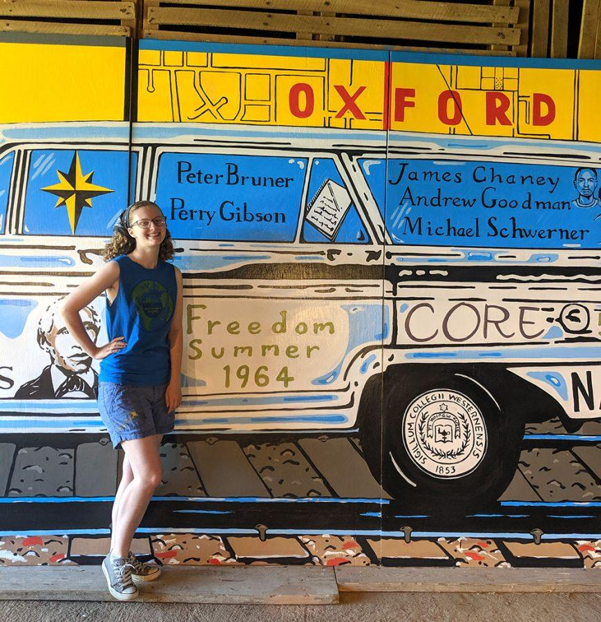 Talawanda+senior%2C+Ella+Cope+finishes+her+civil+rights+mural+commemorating+martyred+civil+rights+workers+trained+in+Oxford+during+the+Freedom+Summer+of+1964.+The+mural+will+be+mounted+on+the+side+of+an+uptown+building+Friday+evening.%26nbsp%3B+Photo+by+Rebecca+Huff