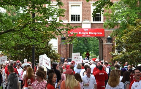 Alumni march in the parade of classes during Alumni Weekend. <em>Photo courtesy of Miami University</em>