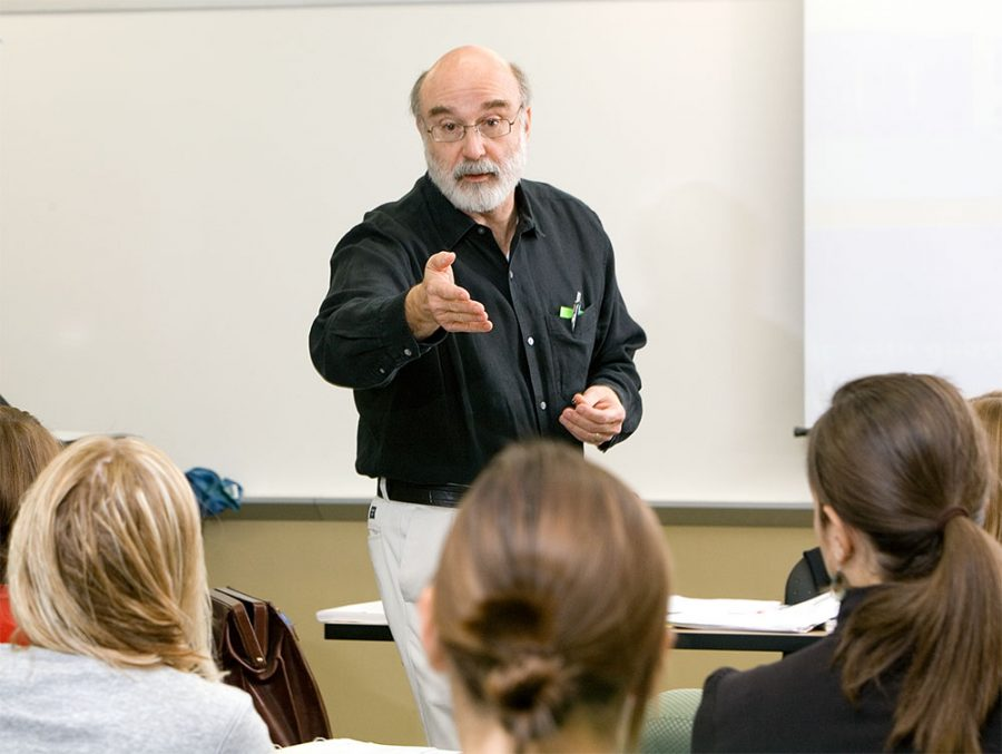 Tom Romano teaching at Miami University in 2006. Photo courtesy of Miami's College of Education Health and Society
