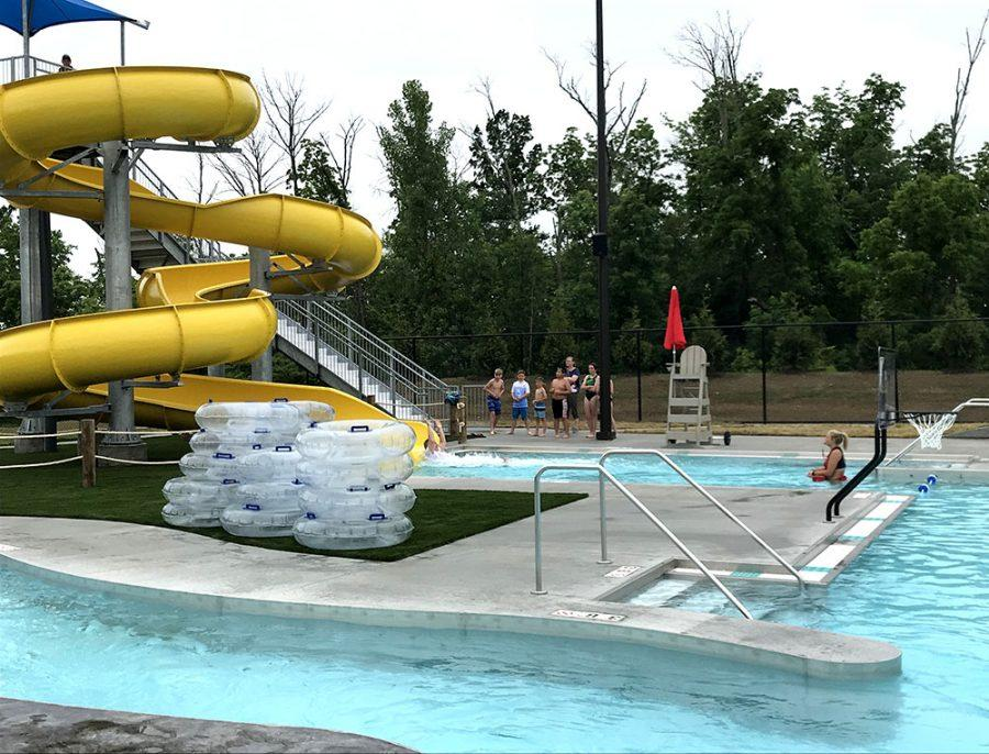 Colorful water slides are expected to be popular features at the pool. Photo by Chris Vinel