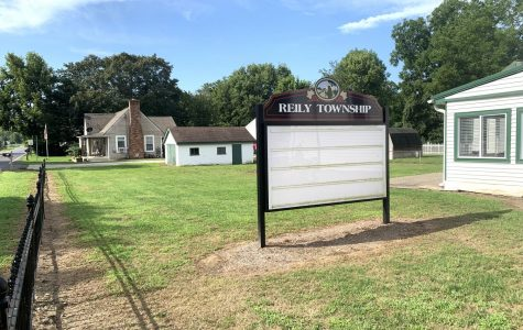 The community signboard next to the local historical museum in Reily, where Trustee Nick Schwab said news of township business is posted for residents to see. On Friday, Aug. 30, the board was blank. Photo by David Wells