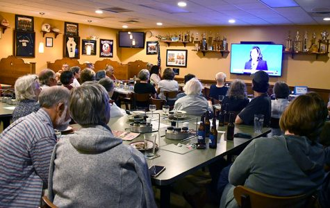 About 30 Oxford area Democrats gathered at LaRosa's  Thursday to watch the televised debate of Democratic presidential contenders. <em>Photo by Lauren Shassere.</em>