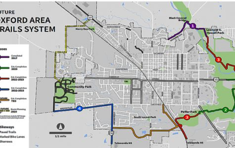 This map shows all of the proposed Oxford Area Trails system. Groundbreaking for Phase II occurred on Oct. 1. <em>Map provided by the Oxford Area Trails Community Organization</em><br>