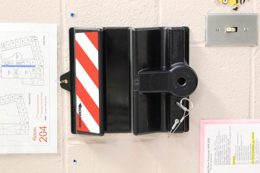 A+Bearacade+door+stop+hangs+on+the+wall+of+a+Lakota+classroom.+Photo+provided+by+Betsy+Fuller
