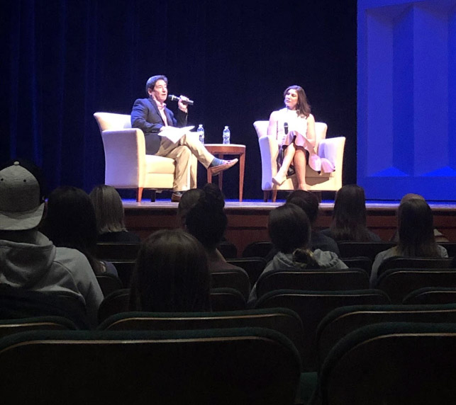 Women's soccer star Hope Solo on the stage at Hall Auditorium October 7,  with Paul Daugherty, sports columnist for the Cincinnati Enquirer. Photo by Massillon Myers.