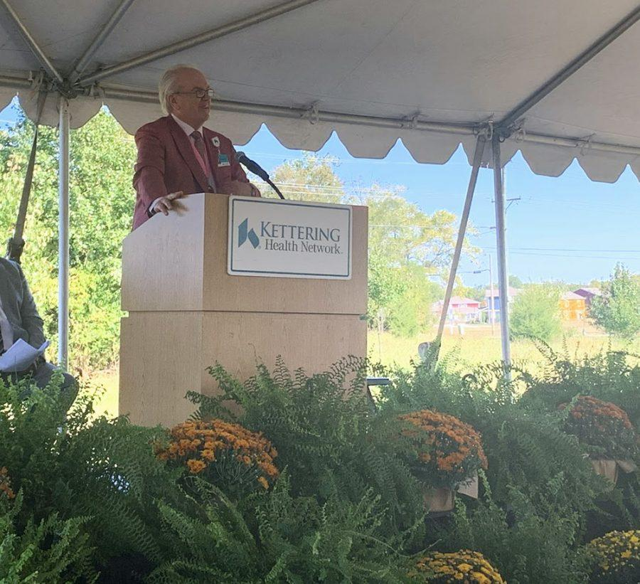 Kettering CEO Fred Manchur at Tuesday's groundbreaking for the new center. Photo by Mallory Hackett.