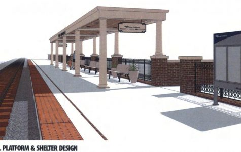 An artist's drawing of a proposed Amtrak platform in Oxford.<em> Photo provided by the City of Oxford.</em>