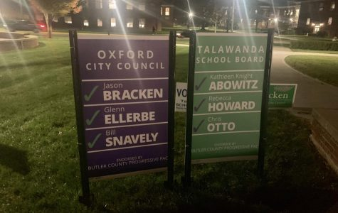 The Butler County Progressive Political Action Committee put up campaign signs that featured the names of all three candidates they endorsed for city council and all three candidates they endorsed for the Talawanda Board of Education. <em>Photo by Ryan McSheffrey.</em><br>