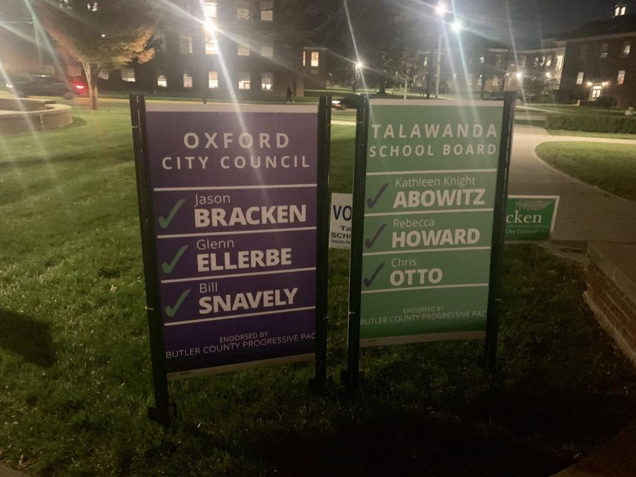 The+Butler+County+Progressive+Political+Action+Committee+put+up+campaign+signs+that+featured+the+names+of+all+three+candidates+they+endorsed+for+city+council+and+all+three+candidates+they+endorsed+for+the+Talawanda+Board+of+Education.+%3Cem%3EPhoto+by+Ryan+McSheffrey.%3C%2Fem%3E%3Cbr%3E
