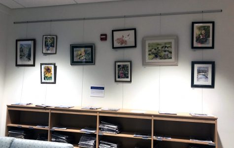 The art exhibition section of the Oxford Lane Library opened this week with a display of watercolors by local artist Sharon Bogan. <em>Photo by Peyton Gigante</em><br>