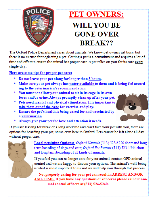 Oxford+Police+warn+people+not+to+leave+pets+unattended+over+winter+break.+%3Cem%3EPress+release+from+the+Oxford+Police.%3C%2Fem%3E