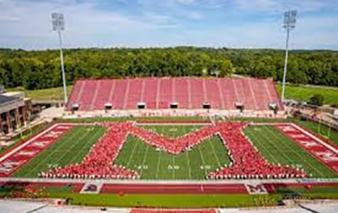 """The 4,300 incoming freshmen formed the Miami """"M"""" at Yager Stadium at the start of the fall semester. <em>Photo provided by Miami University</em>"""