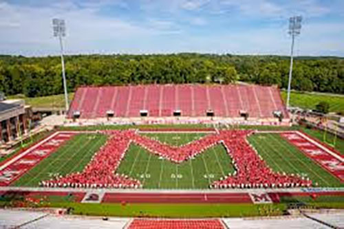 "The 4,300 incoming freshmen formed the Miami ""M"" at Yager Stadium at the start of the fall semester. <em>Photo provided by Miami University</em>"