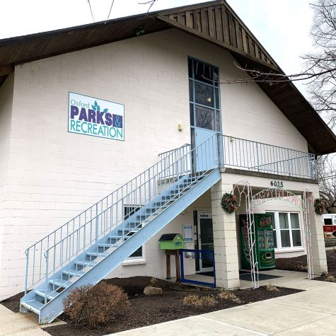 An exterior shot of the future teen center to be run by the Oxford Parks and Recreation Department at the Talawanda Recreational Inc. (TRI) site on Fairfield Road. Now under construction, the center is expected to be operational by February. <em>Photo by Abby Jeffrey</em>