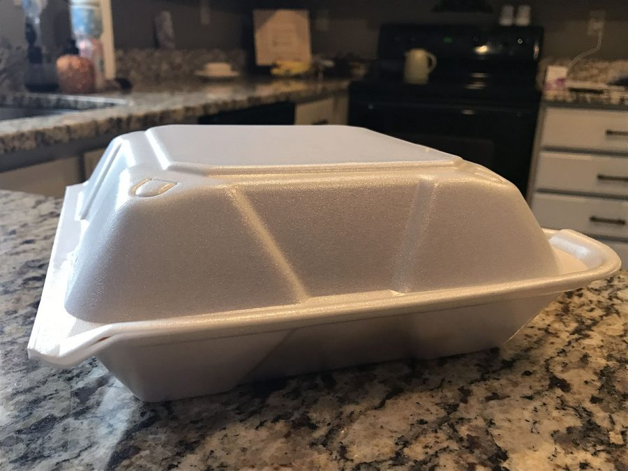 If a ban is passed by Oxford City Council, polystyrene containers such as this could be banned in the city by 2022. Photo by Patrick Keck