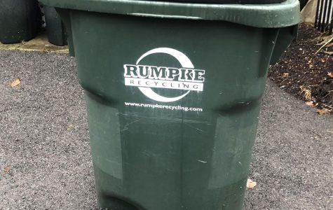 Within the next few weeks, Oxford residents will be able to get a large green rolling bins like this one to put their recyclables out on the curb. <em>Photo by Alec Vianello</em>