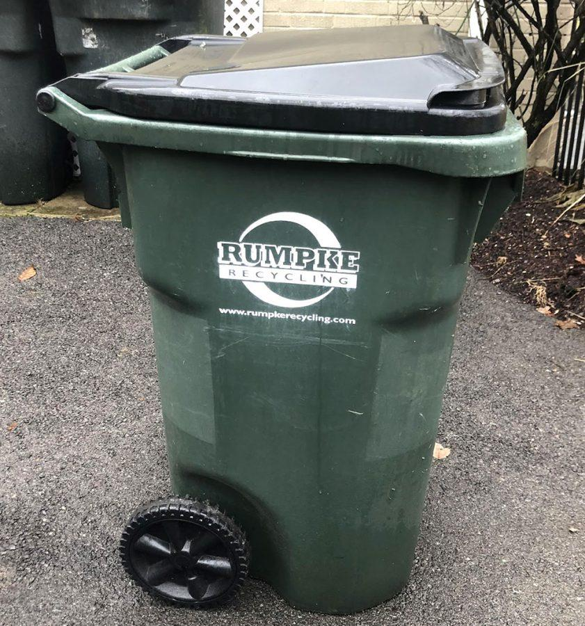 Within the next few weeks, Oxford residents will be able to get a large green rolling bins like this one to put their recyclables out on the curb. Photo by Alec Vianello