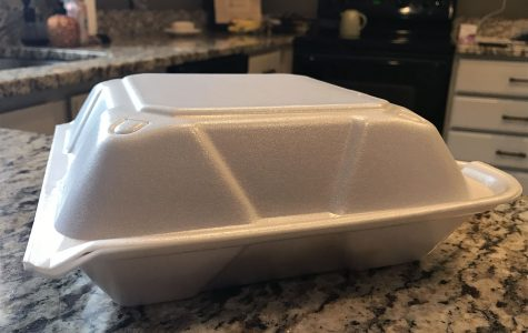 Oxford has adopted a program to phase out the use of polystyrene carryout containers such as this one over the next two years. <em>Oxford Observer file photo</em>