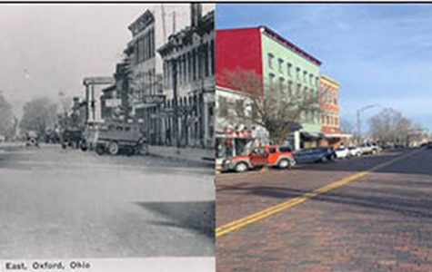 This was the view looking east down High Street in the early 1900s. Today the cars are newer and there are yellow lines down the middle of High Street, but the diagonal parking spots remain.<em> Left photo provided by the Smith Library of Regional History and right photo by Mallory Hackett</em>